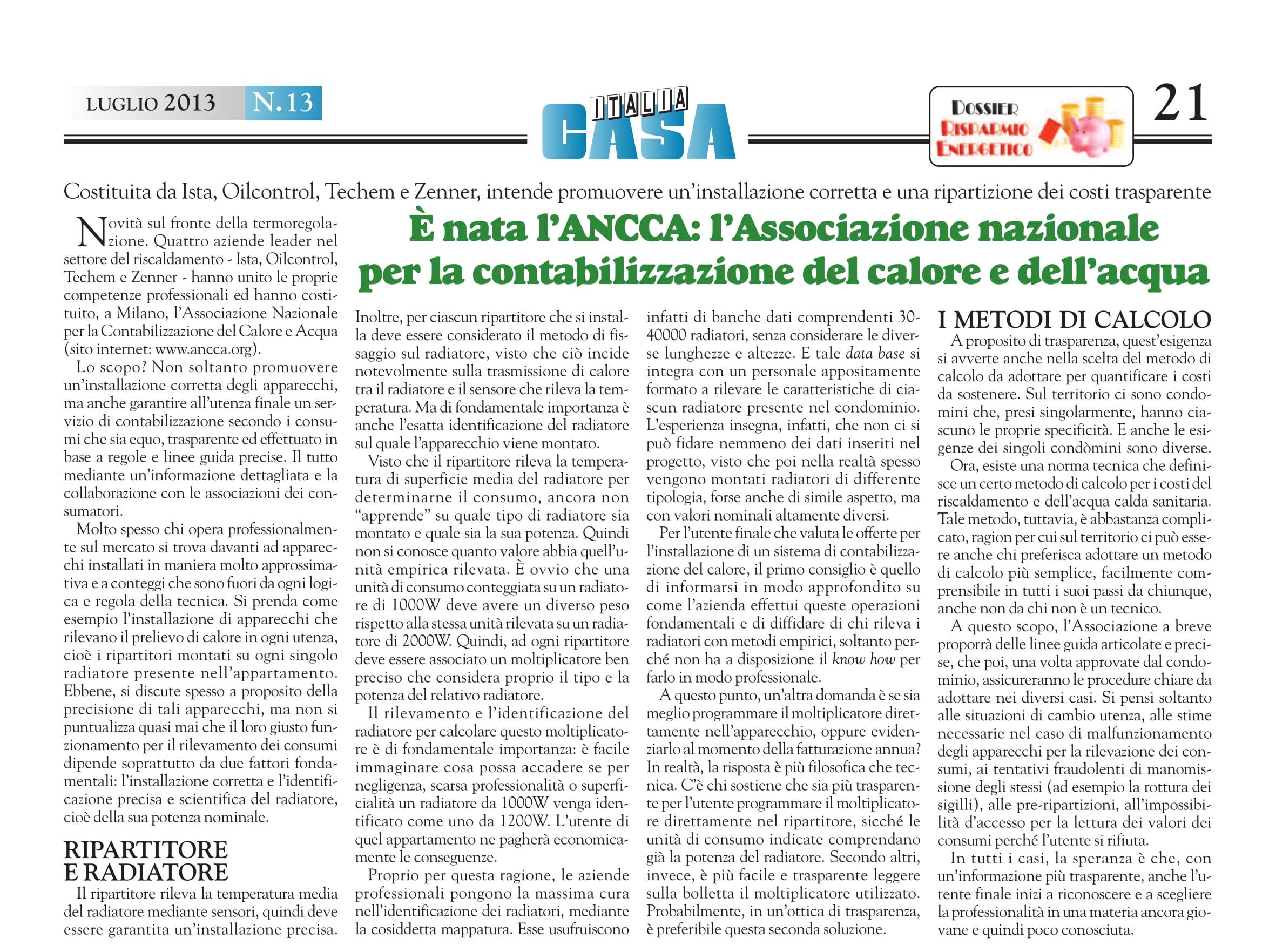 ANCCA ItaliaCasa Luglio2013 1 - Dicono di noi